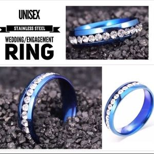 Blue Inlaid Stone Stainless Steel Wedding Ring